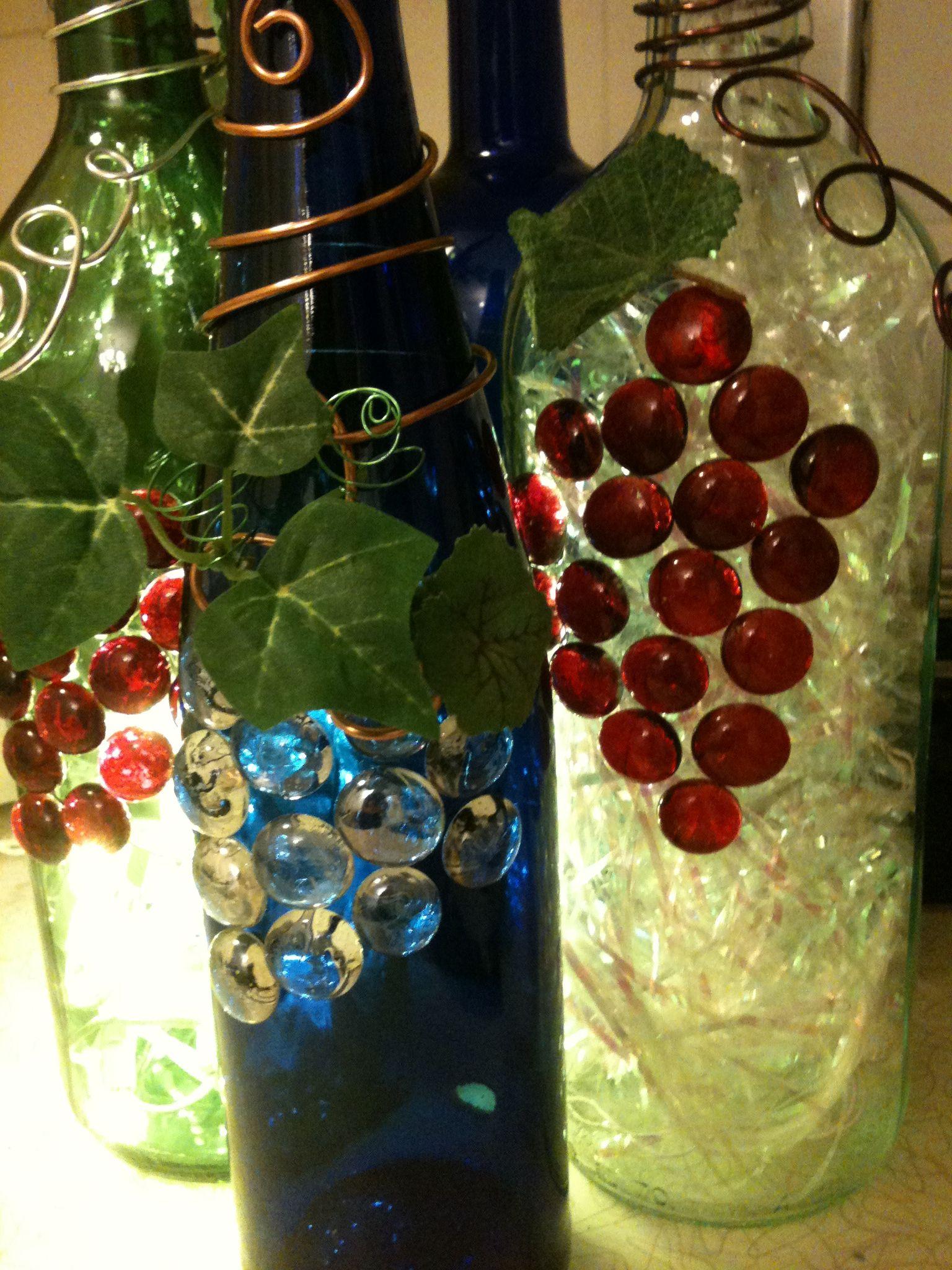 Lighted wine bottles lynne cirillo creations pinterest for Lighted wine bottle craft