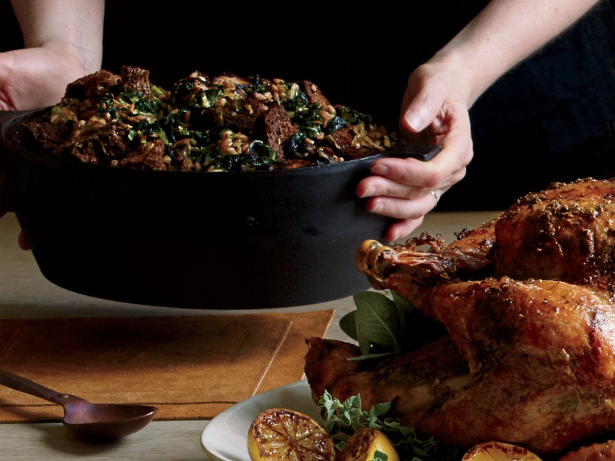 WholeGrain Stuffing with Mustard Greens, Mushrooms and