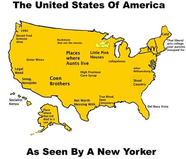 How New Yorkers View The Rest Of The Country Simple Maps For Complex Unfair And Hilarious Generalizations