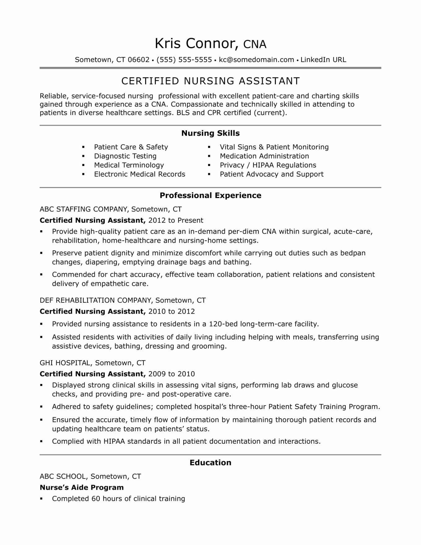 Special Skills For Resume Nursing Assistant