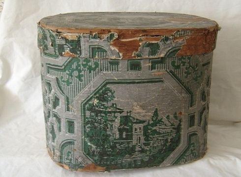 ANTIQUE Hannah Davis Wallpaper Band Box Hat Box w Label - Large - Circa 1843