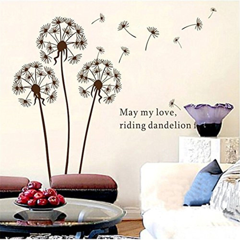 Removable Art Decal World Map Flower Dandelion Wall Sticker Home DIY Mural Decor