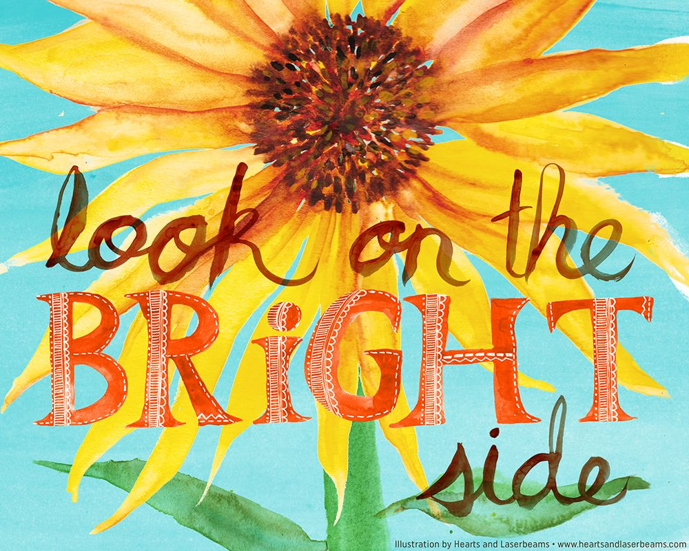 Look on the Bright Side sayings - sunflower illustration home decor ...