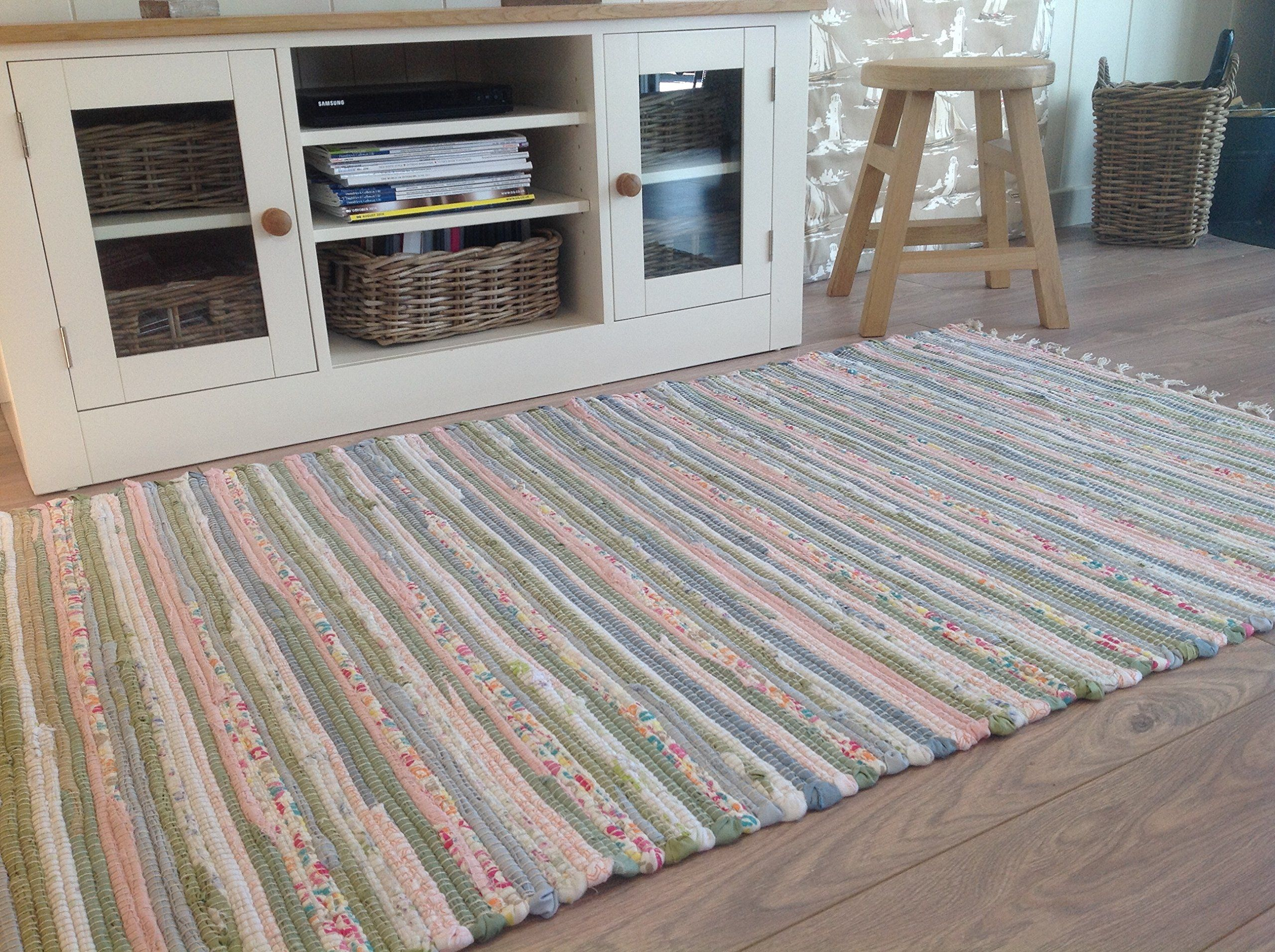 Pastel Rag Rug 120cm X 180cm Indian Multi Colours Recycled Cotton Second Nature Exclusive