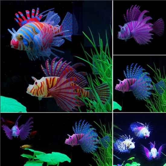 Glow In Dark Artificial Aquarium Lionfish Moonbeo Gift Store Fish Tank Decorations Lion Fish Fish Tank Plants