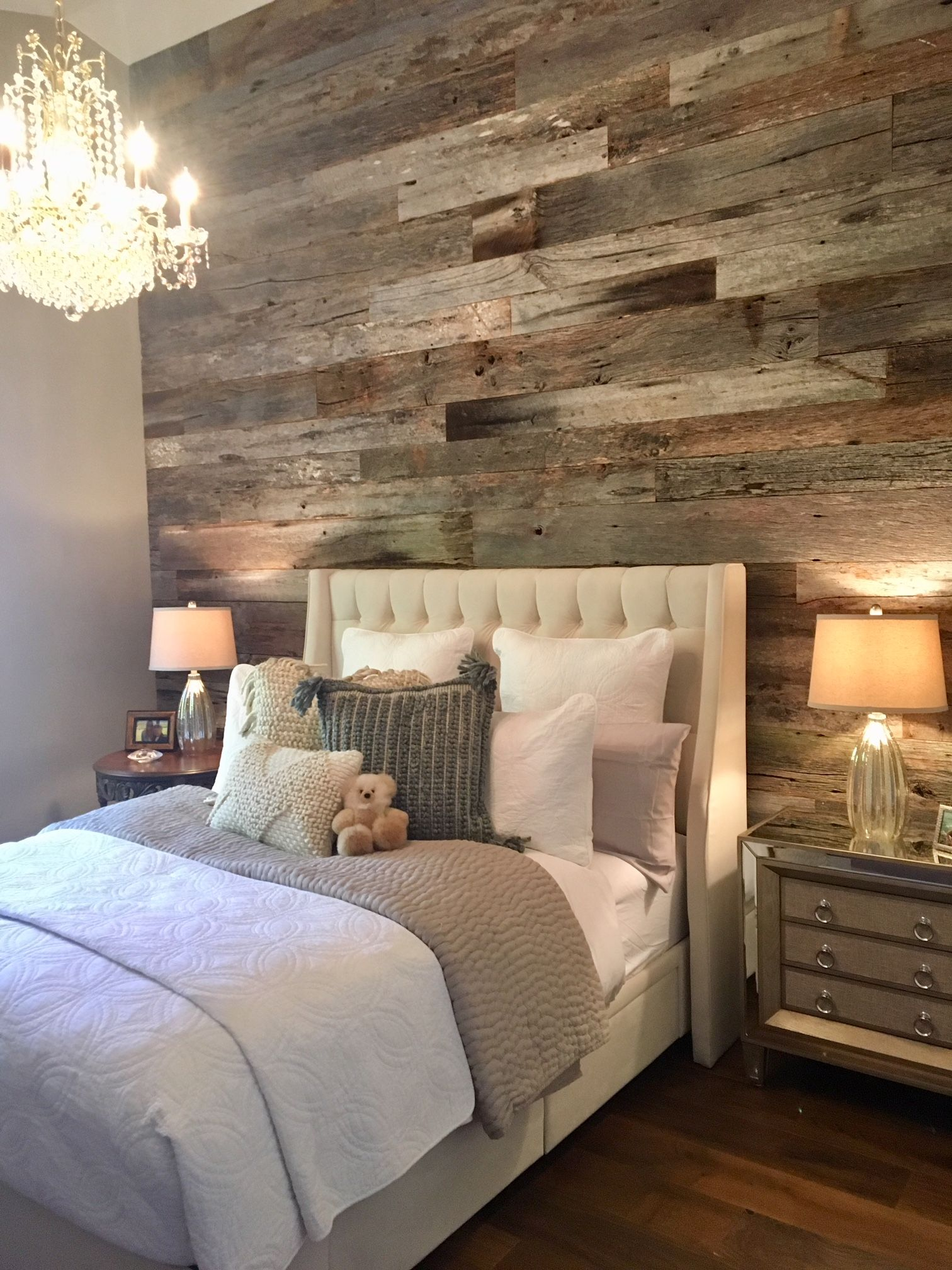 Tobacco Grey Barn Wood Wall Rustic Bedroom Design Small Master