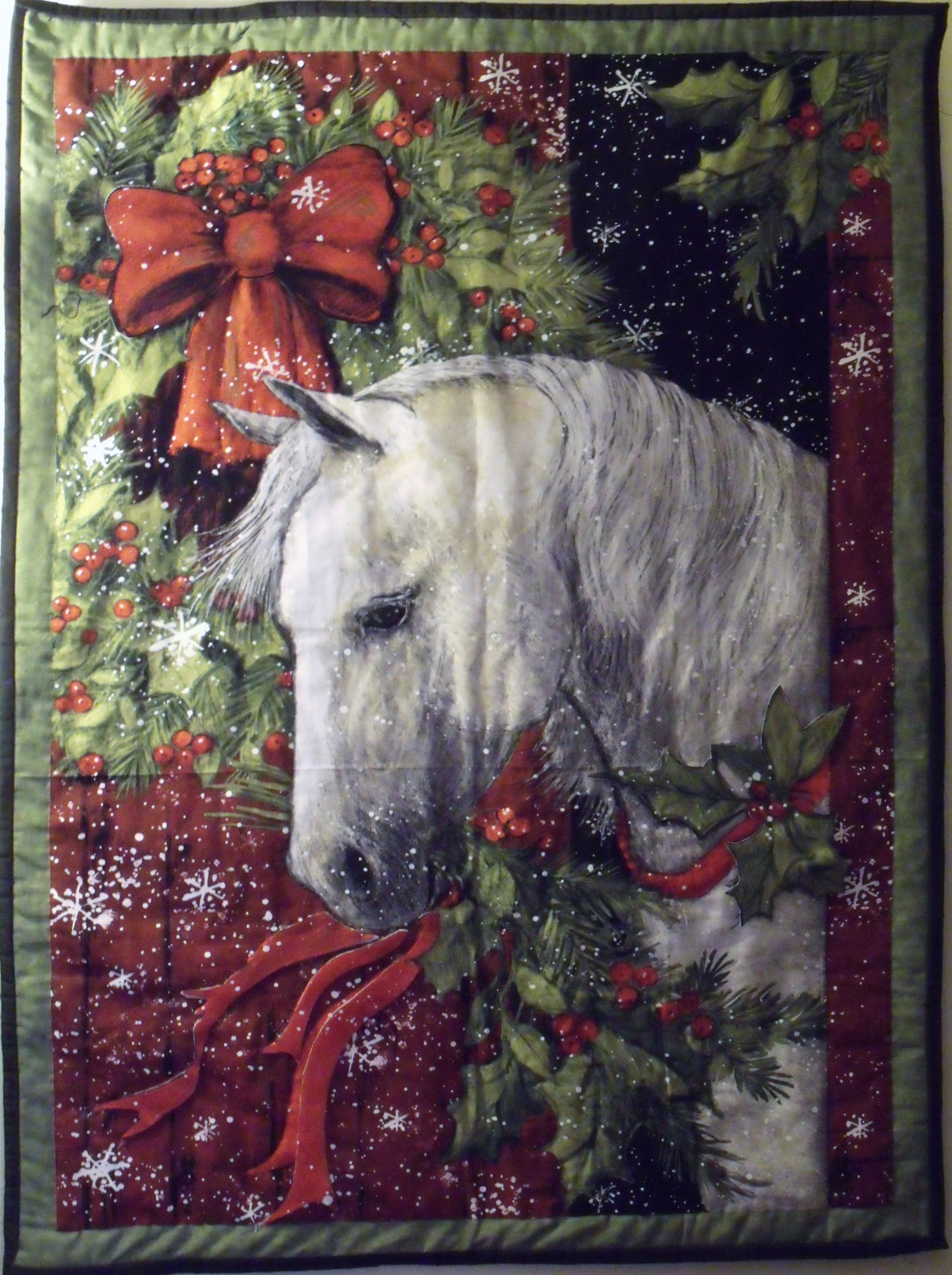 Christmas Horse Wall Hanging - Purchased fabric panel at