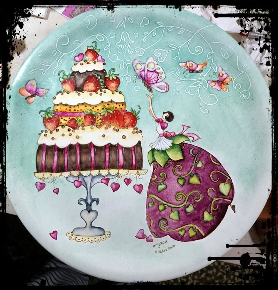 Plato con pie para tortas porcelana pinterest platos for Platos porcelana