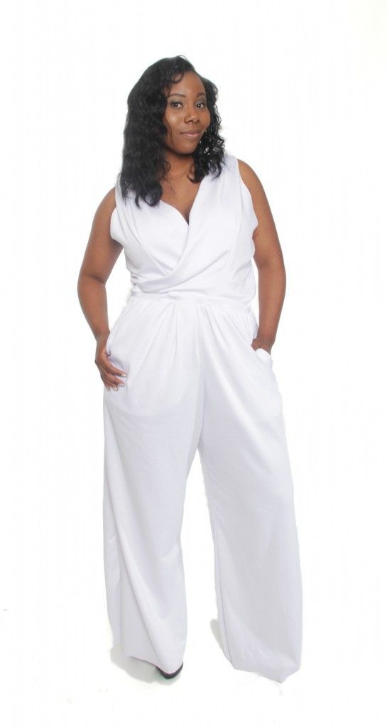 Plus size white linen dress pants