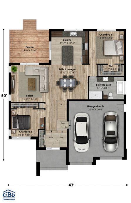 Plan du modèle Exterieur Pinterest Bungalow, Construction and