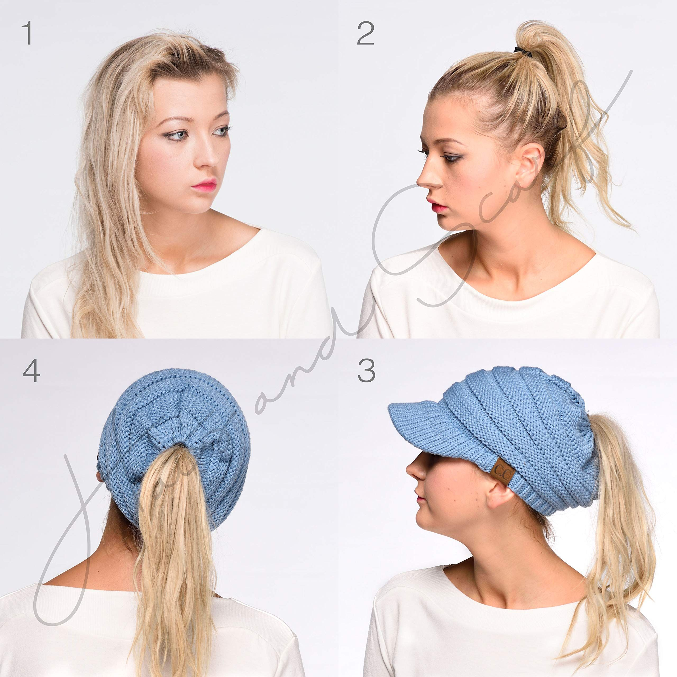 c3b859acdbb172 Hatsandscarf C.C Exclusives Messy Bun Ponytail Visor Brim Beanie Hat  (MB-131) (New Olive) - Cool Beanie Hats