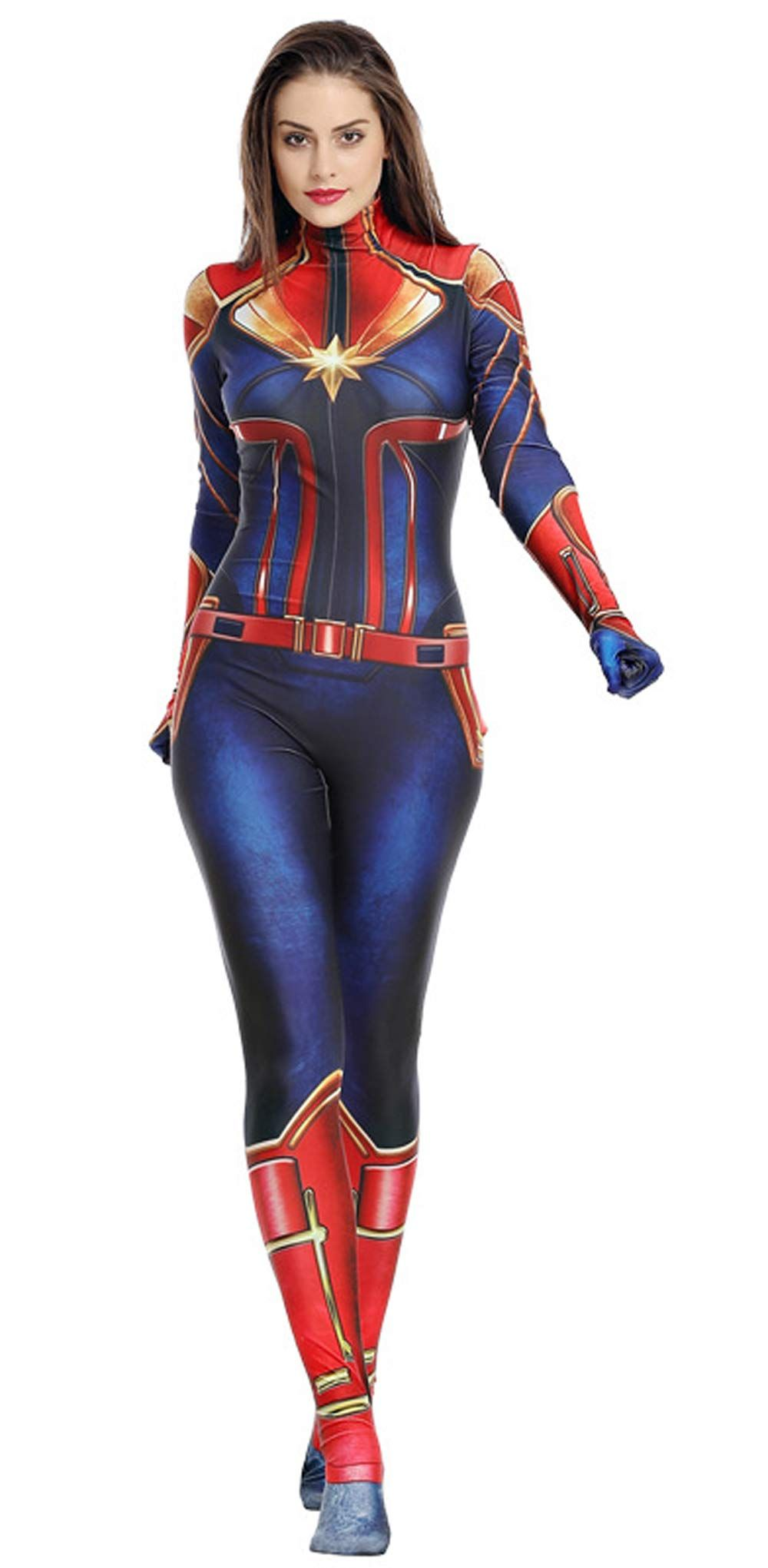 Captain Marvel Cosplay Superhero Costume Full Set Outfit Halloween Hero Costume