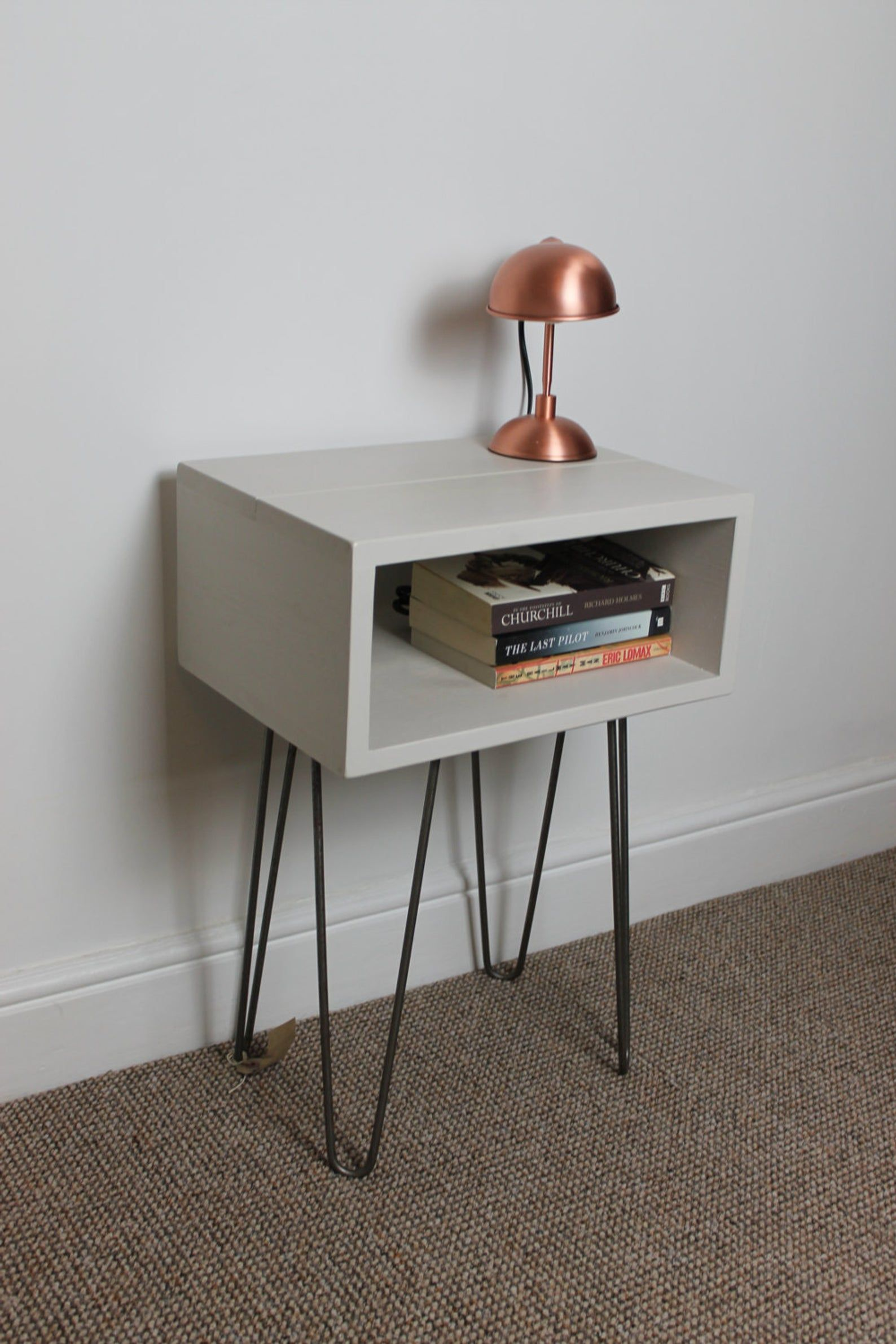 Best Handmade Bedside Table With Painted Finish And Hairpin 640 x 480