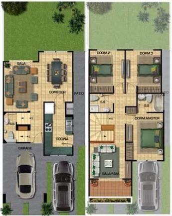 Plano de casa moderna con garage doble casas de dise o for Distribucion de casas modernas de una planta