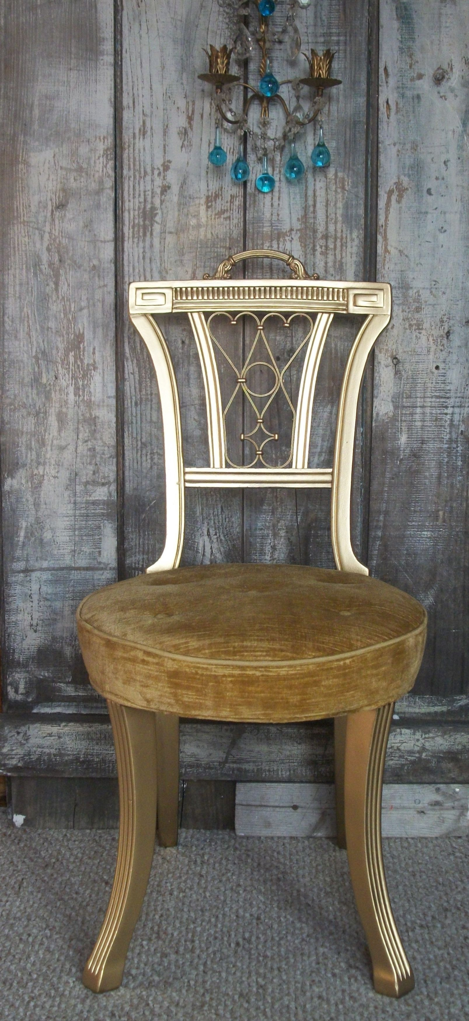 Vintage Hollywood Regency Gold Chair Painted gilded gold glam