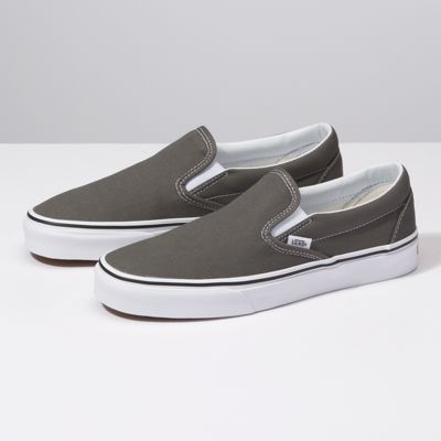 Grey slip on vans, Classic shoes, Sneakers