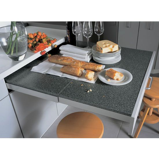 Hafele's Top Flex Pull-Out Table System works with your tabletop ...