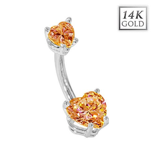 Gold Plated Belly Bar Navel Piercing Ring with Large CZ Gem