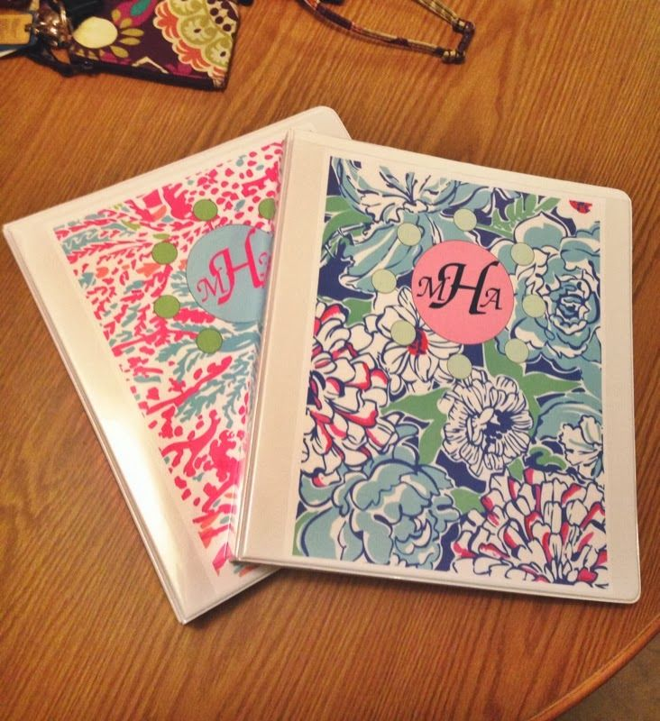Monogrammed Lilly Pulitzer Binder Covers