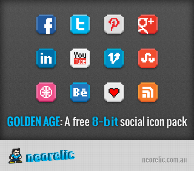 Awesome 8Bit Social Icon Pack (con imágenes) Iconos