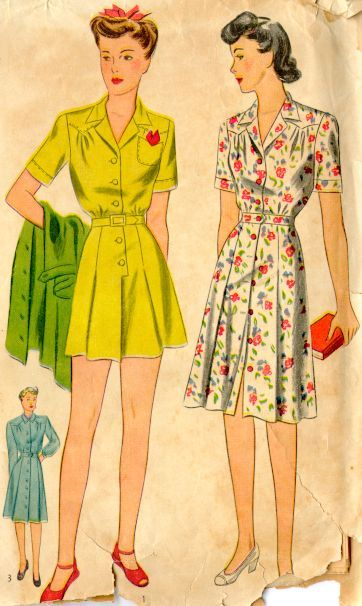 "Vintage pattern for a lady's ""playsuit"" - circa 1940s"
