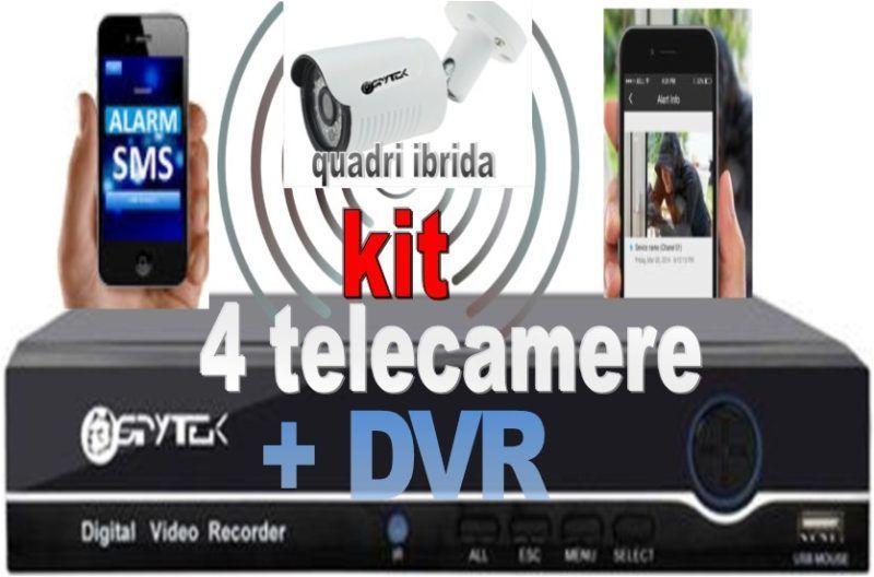 kit videosorveglianza HD 4 telecamere con cavi da esterno . Telecamere migliore definizione prezzi in promozione offerta prezzi