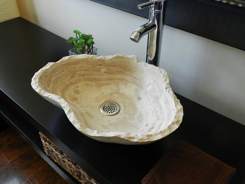 rectangle bathroom vessel sink natural