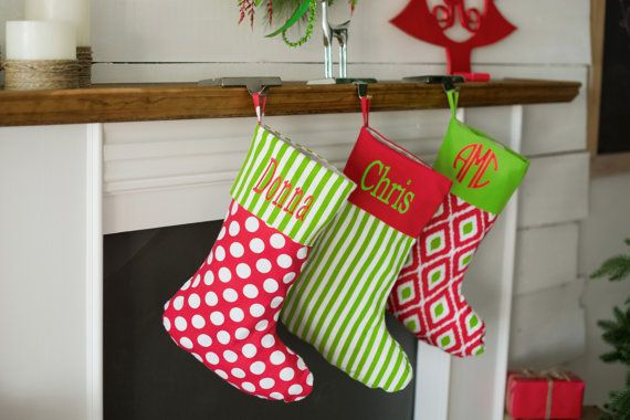 Monogrammed Christmas Stockings, Personalized Christmas Stockings