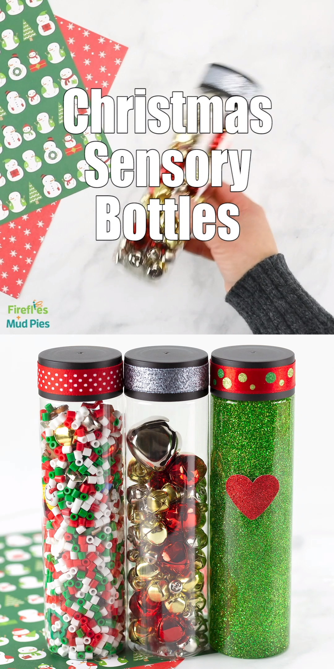 These Christmas Sensory Bottles are fun for babies, toddlers, preschoolers, and older children. They are a fun stocking stuffer for kids and perfect for holiday-themed sensory play at home, in the classroom, or on the road! #christmas #sensorybottles #glittersensorybottles