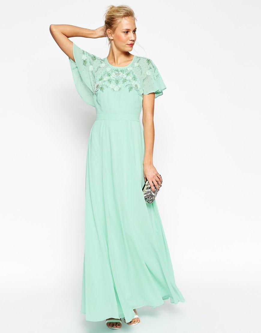 Image 1 of ASOS Embellished Flutter Sleeve Maxi Dress | Blue ...