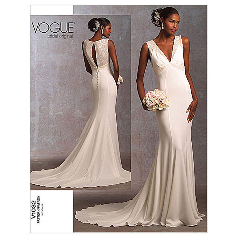 Vogue 1032 Long Train Elegant Wedding Dress Floor Length Sewing ...