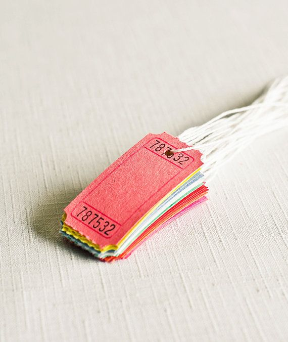 Gift Tags - Blank Carnival Tickets in Color Assortment - Set of 24 With White Baker's Twine - Party Gift Wrapping Pretty Packaging Embellish on Etsy, $3.50