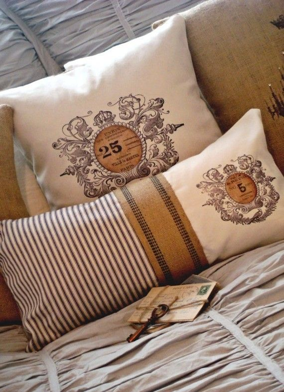 French ticking with burlap