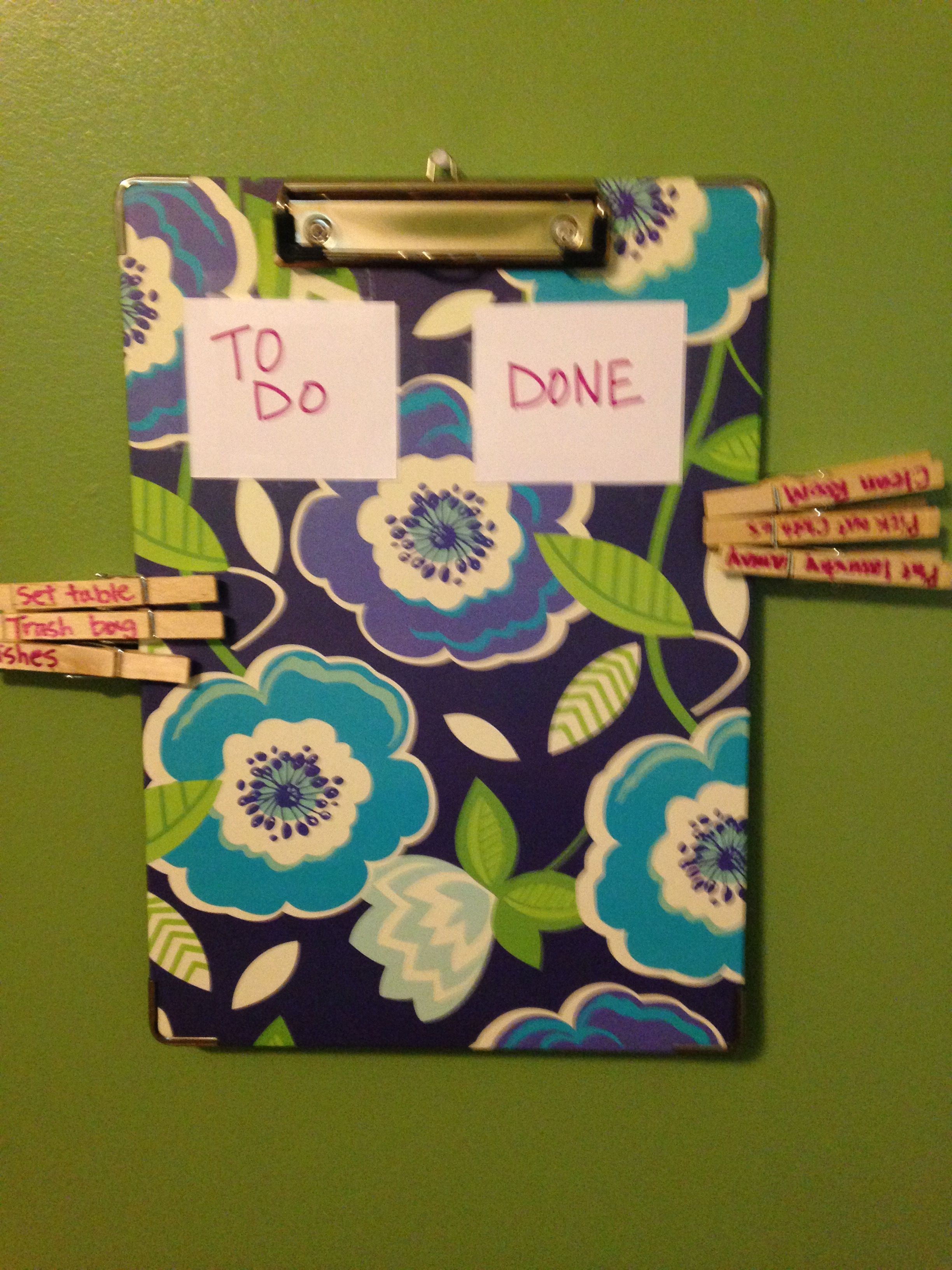 Chore chart with clipboard and clothespins for 5 year old