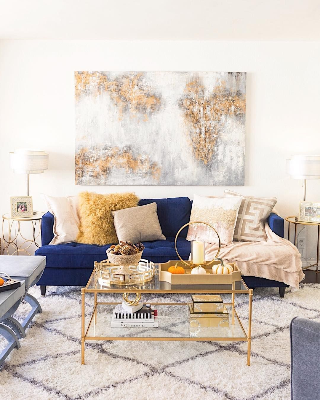 It S Here My Fall Home Decor Reveal With Zgallerie Is Now Live On Lauralily Com Bringi Living Room Decor Apartment Blue Couch Living Blue Living Room Decor