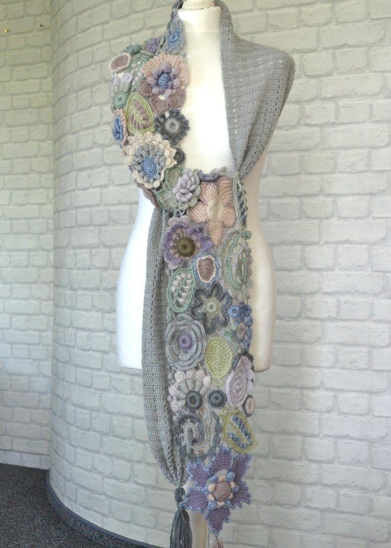 Long warm scarves Irish crochet Soft yarn Gift for stylish | Etsy