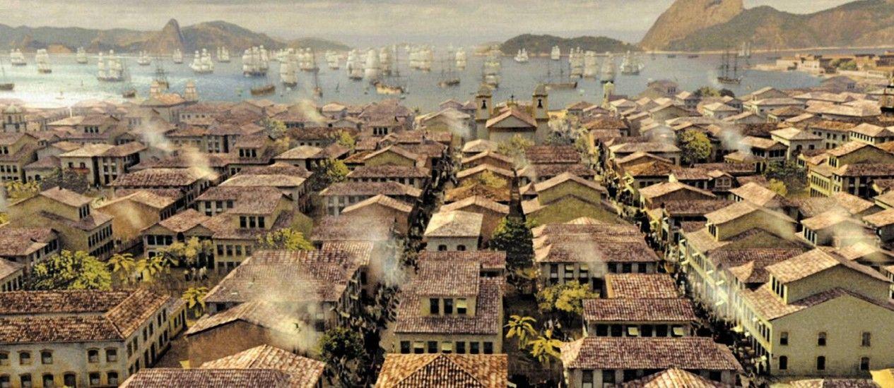 Os telhados das casas e o povo nas ruas, com as caravelas e a Baía ao fundo: imagens foram inspiradas em pinturas de época
