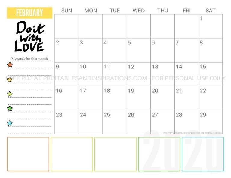 Free 2020 Monthly Goals Calendar Printable Calendar Printables