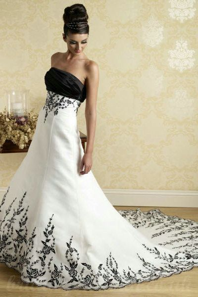black and white wedding dresses | Buy cheap Black And White A Line ...