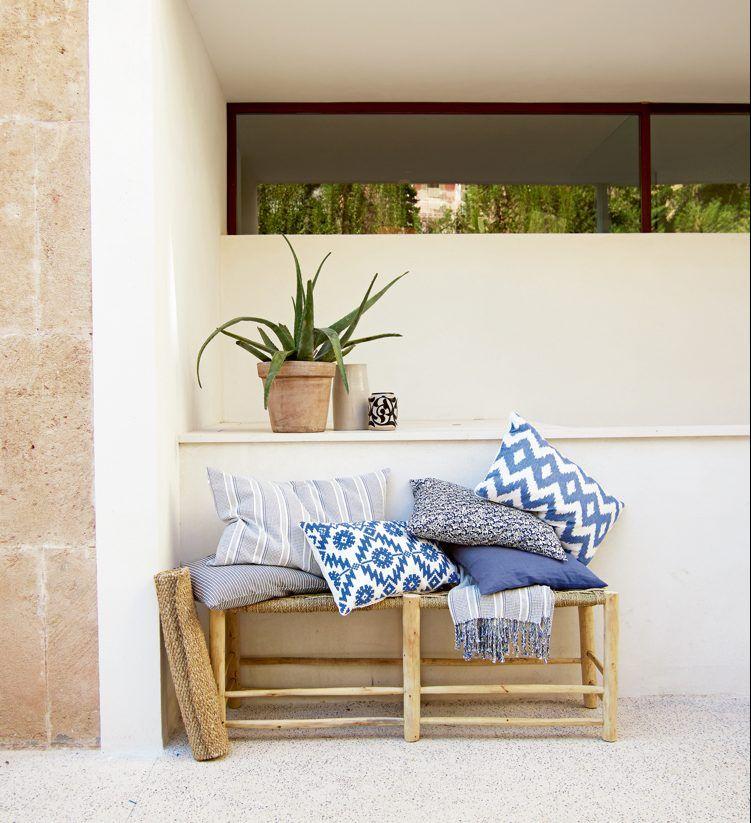 Skandinavische Terrasse Gartenmöbel Sitzbank Bambus Jute Outdoor Kissen