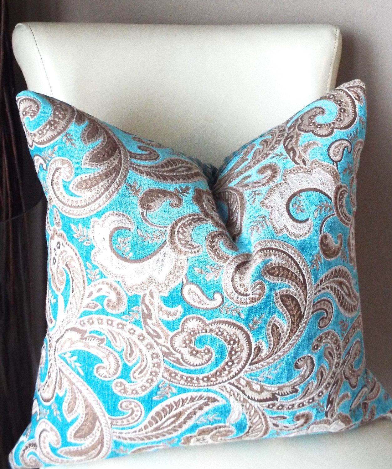 Turquoise Throw Pillow Cover Brown Pillow, Beige Throw Pillow, Paisley  Throw Pillow Cover