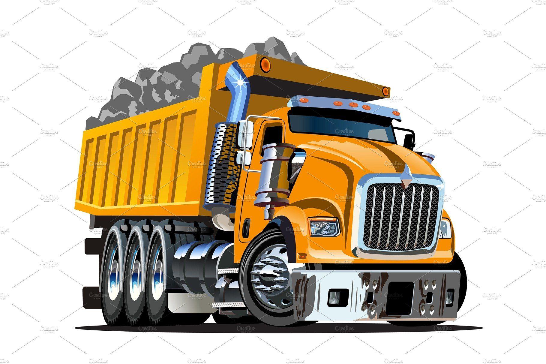 Vector Cartoon Dump Truck With Images Dump Trucks Trucks