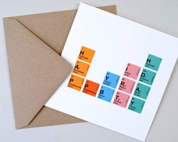 Geek Birthday Card Periodic Table Card Nerdy Birthday Card