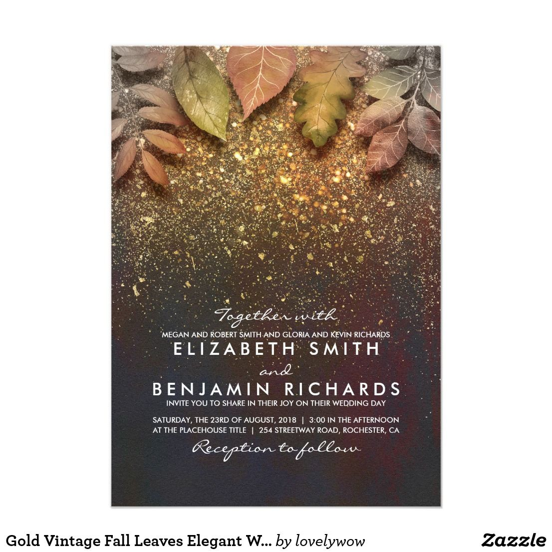 vintage wedding invitation text%0A Gold Glitter Vintage Fall Leaves Wedding Card