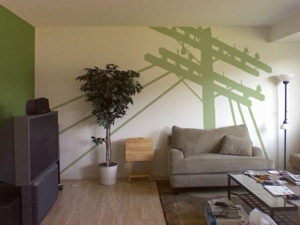 wohnung schön streichen - grüne bemalung an der wand und - ideen zum wohnzimmer streichen
