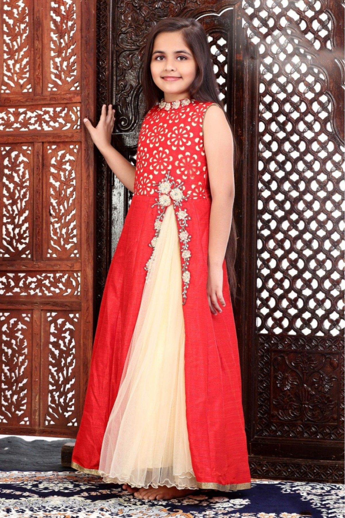 481ece84da6c Buy Net And Satin Party Wear Gown In Red Colour For Girls@ ninecolours.com.  Worldwide Free Shipping Available!