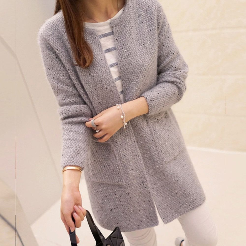 New Spring Winter Women Casual Long Sleeve Knitted Cardigans ...