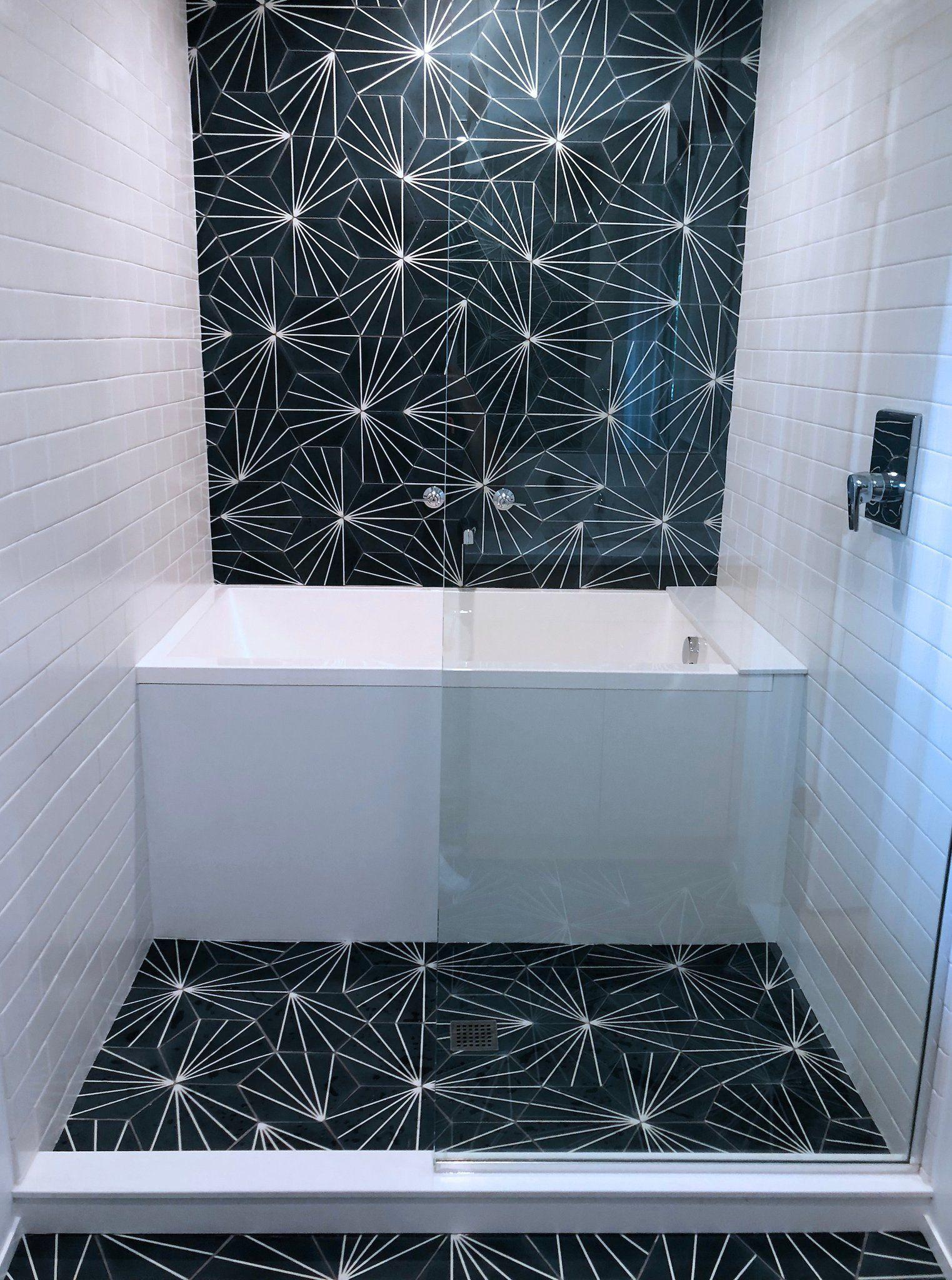Cle Tile Encaustic Hexagon Cement Tile Linear Pattern Radar Bathroom Design Bathrooms Remodel Small Bathroom
