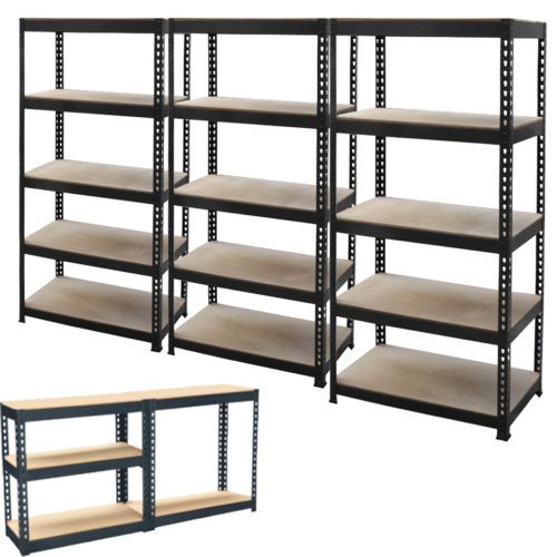 new 5 tier metal shelving shelf storage unit garage boltless shelves industrial garage shop. Black Bedroom Furniture Sets. Home Design Ideas