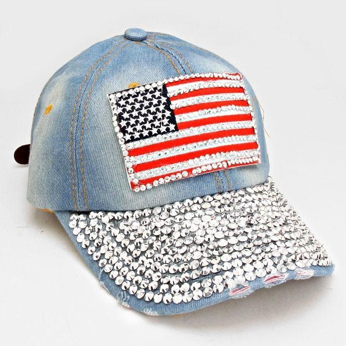 ea20d955fb7 Free shipping and guaranteed authenticity on USA American Flag Bling Bling  Crystal Distressed Denim Baseball Cap Hat at Tradesy.